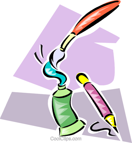 paint tubes, paintbrushes and pencils Royalty Free Vector Clip Art illustration vc063276