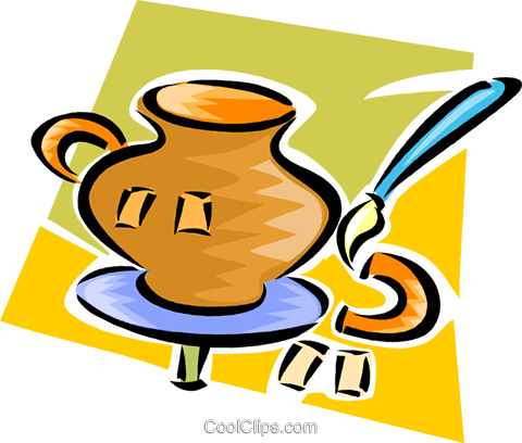 Fixing a broken vase Royalty Free Vector Clip Art illustration vc063282