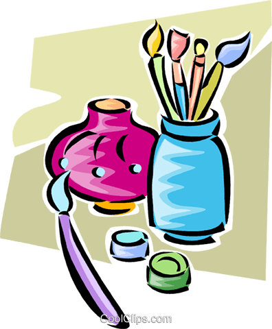 paintbrushes and  vase Royalty Free Vector Clip Art illustration vc063285