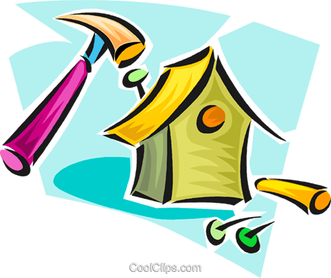building a birdhouse Royalty Free Vector Clip Art illustration vc063303