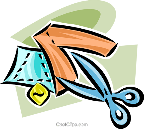 scissors with fabric Royalty Free Vector Clip Art illustration vc063326