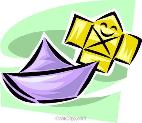 paper boat Royalty Free Vector Clip Art illustration vc063336