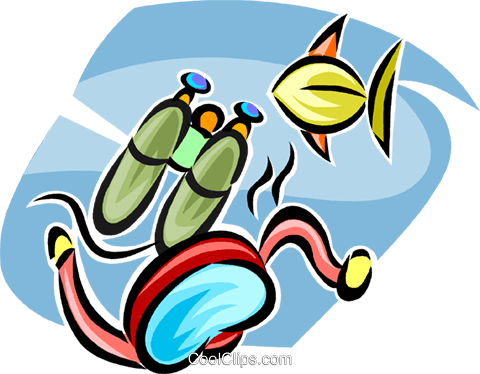 Scuba gear and fish Royalty Free Vector Clip Art illustration vc063344