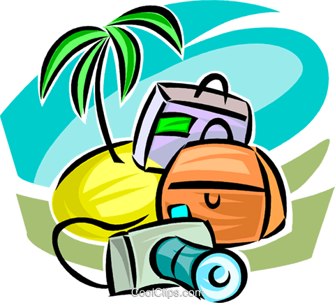 Island, camera and luggage Royalty Free Vector Clip Art illustration vc063353