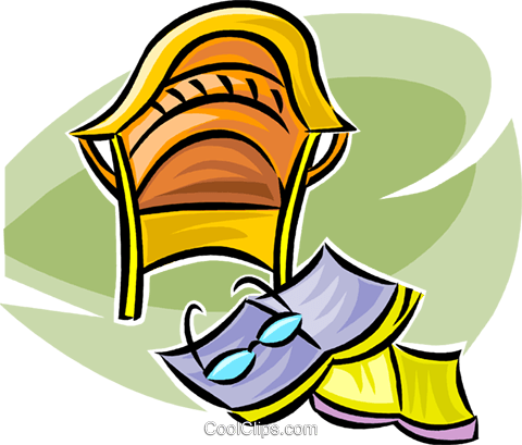 chair and reading material Royalty Free Vector Clip Art illustration vc063360