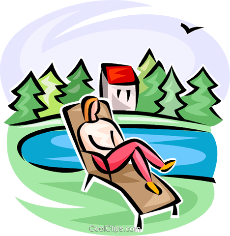 person on a lawn chair Royalty Free Vector Clip Art illustration vc063365