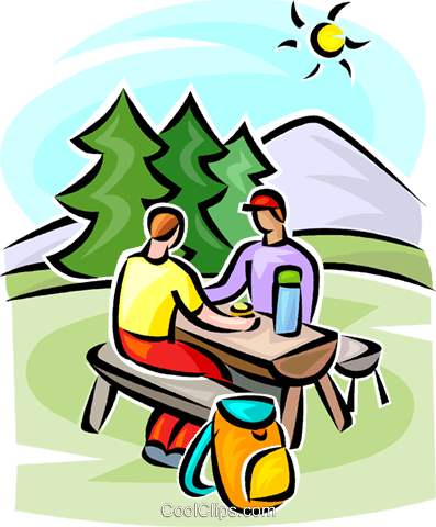 people sitting at a picnic table Royalty Free Vector Clip Art illustration vc063367