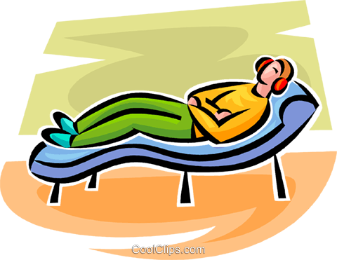 person lying on a couch Royalty Free Vector Clip Art illustration vc063368