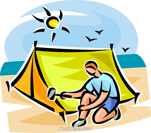 Person setting up a tent Royalty Free Vector Clip Art illustration vc063369
