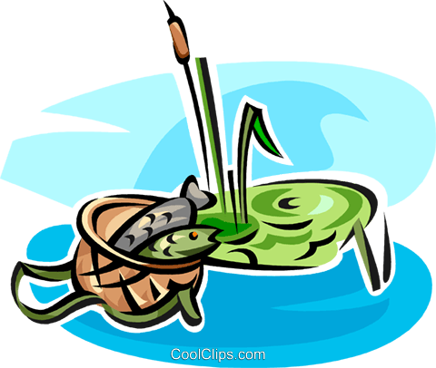 fish in a basket Royalty Free Vector Clip Art illustration vc063371