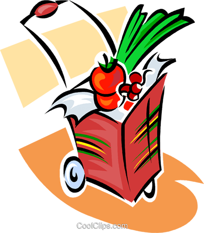 grocery cart with purchases Royalty Free Vector Clip Art illustration vc063381