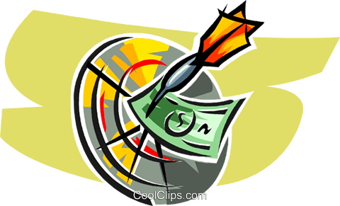 dartboard with dart and dollar bills Royalty Free Vector Clip Art illustration vc063388