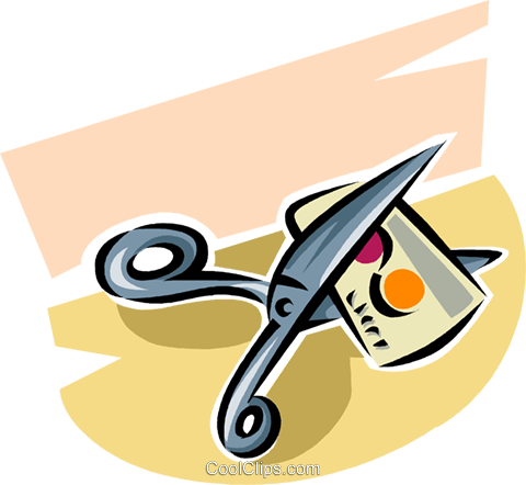 cutting up a credit card with scissors Royalty Free Vector Clip Art illustration vc063392