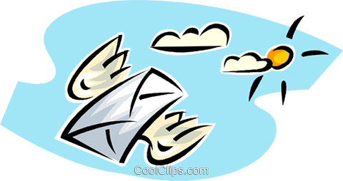 airmail delivery with flying envelope Royalty Free Vector Clip Art illustration vc063393