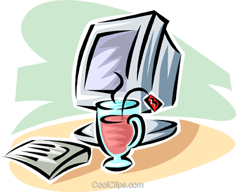 cup of tea beside a computer monitor Royalty Free Vector Clip Art illustration vc063401