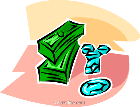 stacks of dollars and precious gemstones Royalty Free Vector Clip Art illustration vc063411