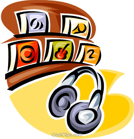 headphones with CD retail sales Royalty Free Vector Clip Art illustration vc063414