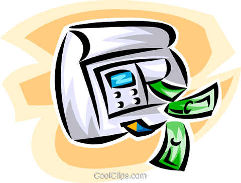 ATM machine with dollars Royalty Free Vector Clip Art illustration vc063421