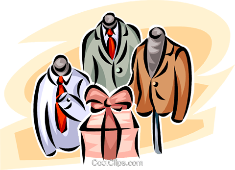 men's clothing retail garment display Royalty Free Vector Clip Art illustration vc063423