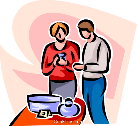 man and woman shopping Royalty Free Vector Clip Art illustration vc063424