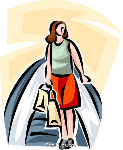 woman riding an escalator while shopping Royalty Free Vector Clip Art illustration vc063427