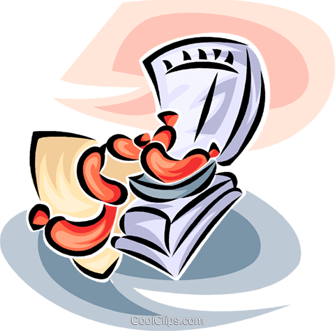 Sausage weighed on a store scale Royalty Free Vector Clip Art illustration vc063435