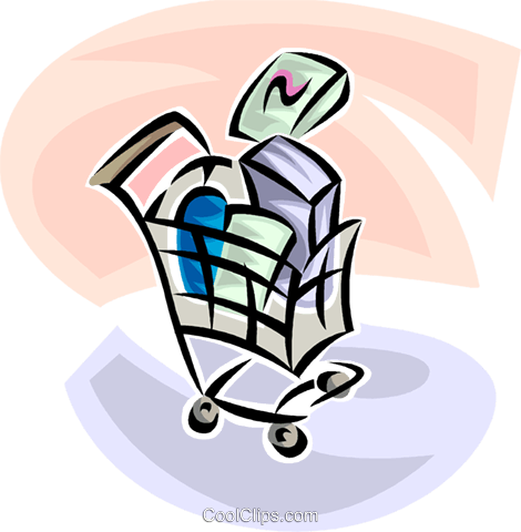 shopping cart with purchased items Royalty Free Vector Clip Art illustration vc063438