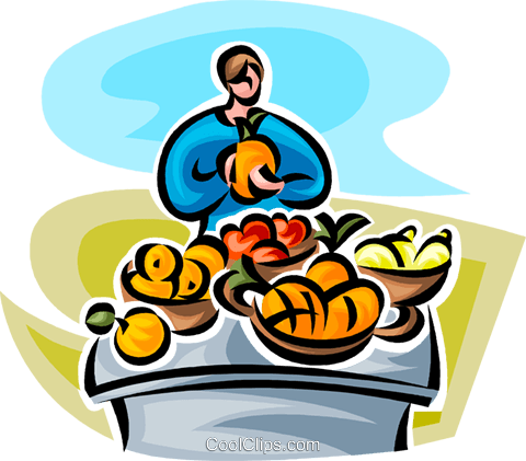 woman at a fruit stand Royalty Free Vector Clip Art illustration vc063448