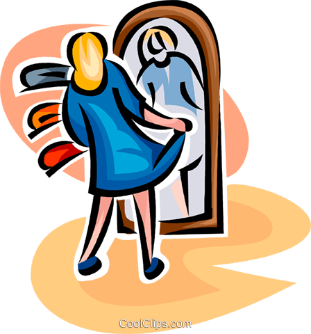woman trying on a new dress Royalty Free Vector Clip Art illustration vc063452