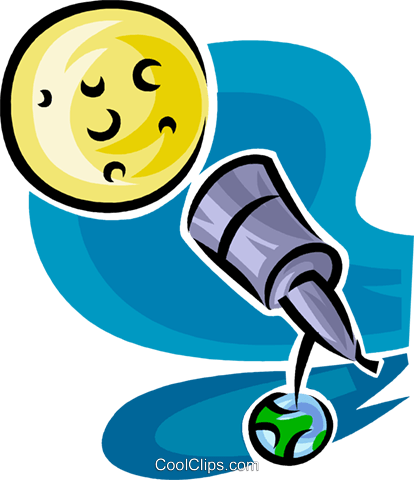 telescope looking at the moon Royalty Free Vector Clip Art illustration vc063456