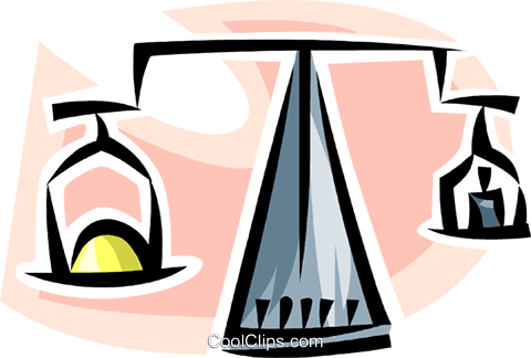 scale balancing precious metal Royalty Free Vector Clip Art illustration vc063468