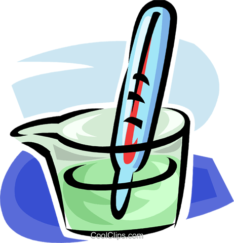 thermometer in a dish of liquid Royalty Free Vector Clip Art illustration vc063469