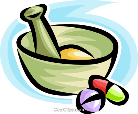 mortar and pestle Royalty Free Vector Clip Art illustration vc063470