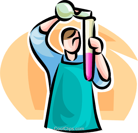 man with a test tube Royalty Free Vector Clip Art illustration vc063490