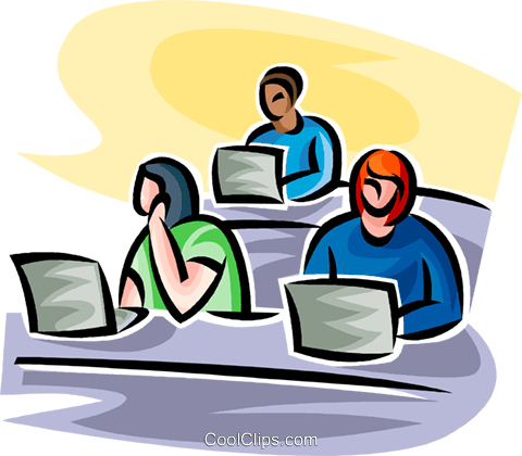 students working on a laptop Royalty Free Vector Clip Art illustration vc063511