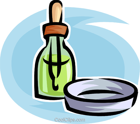 ear/eye dropper and a petri dish Royalty Free Vector Clip Art illustration vc063523