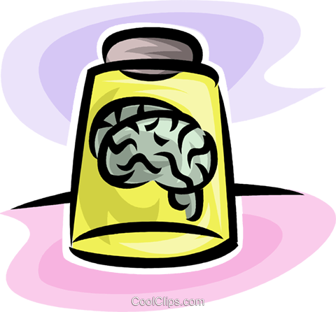 brains in a jar Royalty Free Vector Clip Art illustration vc063526