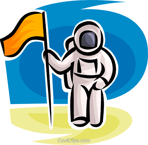 Astronaut with flag Royalty Free Vector Clip Art illustration vc063530