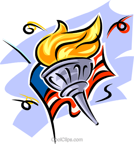 American flag and Olympic torch Royalty Free Vector Clip Art illustration vc063548