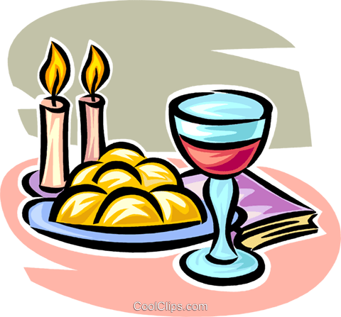 wine, candles and bread Royalty Free Vector Clip Art illustration vc063559