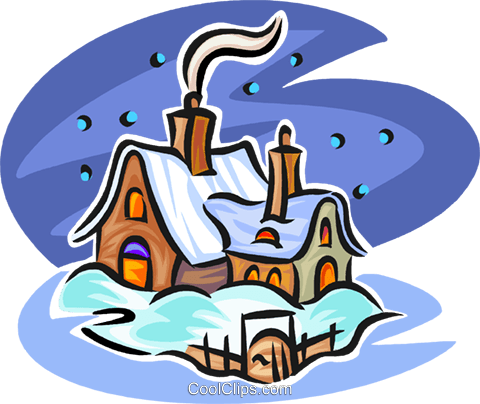 winter house Royalty Free Vector Clip Art illustration vc063562