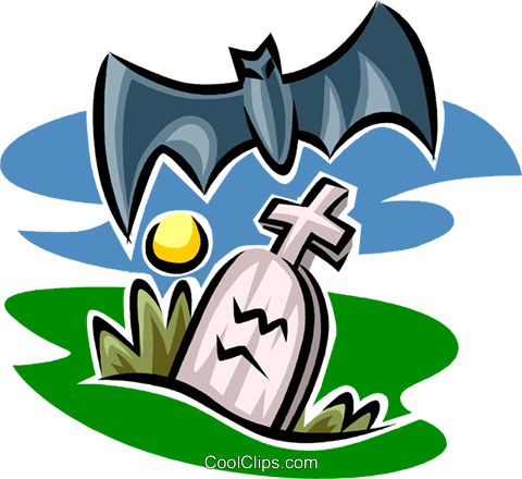 gravestone and bat Royalty Free Vector Clip Art illustration vc063591