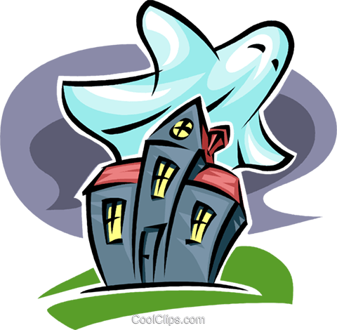 haunted house and ghost Royalty Free Vector Clip Art illustration vc063592
