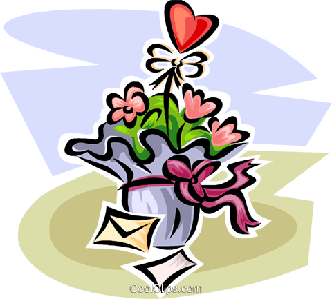 Valentine flowers Royalty Free Vector Clip Art illustration vc063598