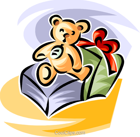 stuffed animal and present Royalty Free Vector Clip Art illustration vc063608