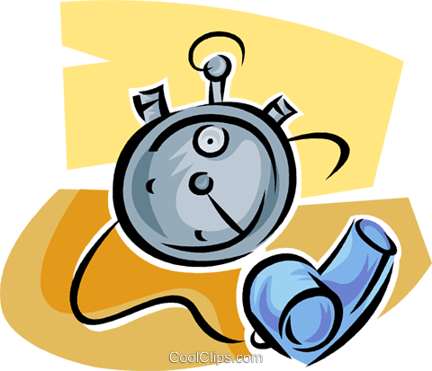 stopwatch and whistle Royalty Free Vector Clip Art illustration vc063616