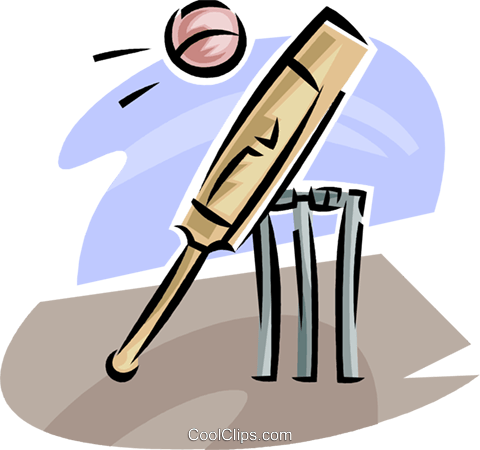 cricket bat and ball Royalty Free Vector Clip Art illustration vc063635
