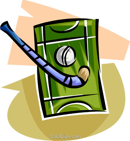 field hockey ball and stick Royalty Free Vector Clip Art illustration vc063645