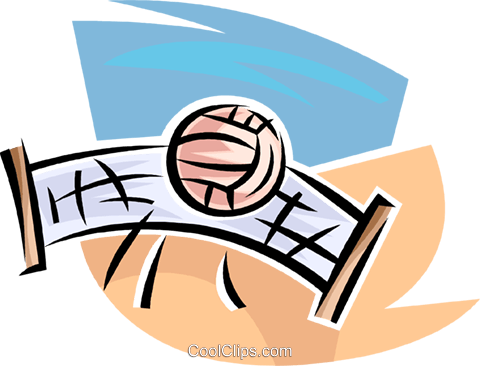 Volleyball net and ball Royalty Free Vector Clip Art illustration vc063648
