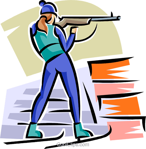biathlete Royalty Free Vector Clip Art illustration vc063658